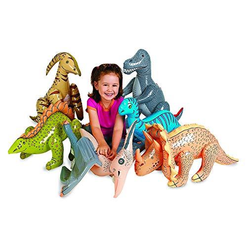 cama24com Dinosaurier aufblasbar 6 Verschiedene Dinos für Kinder als aufblasbare Partydekoration mit Palandi® Sticker
