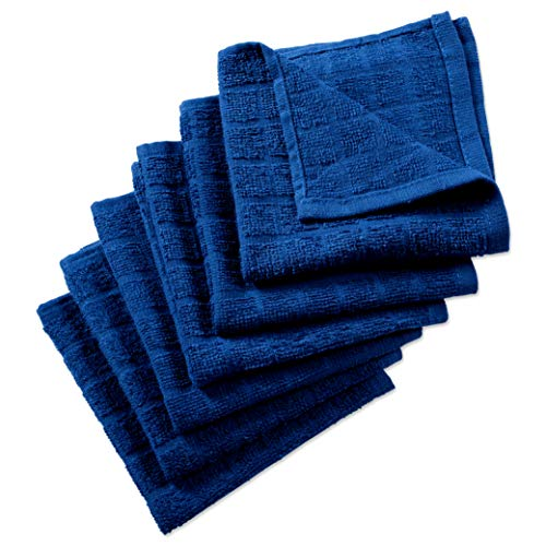 Nirisha Cotton Terry Dish Cloth - 6 Pack - Royal Blue - 12 x 12 Inches - 400 GSM - 100% Ringspun 2 Ply Cotton - Box Weave - Soft & High Absorbent