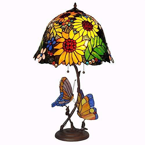 16 pouces style européen vitrail lampes de table fleur de soleil deux papillons décoration nuit lumière salon bureau bureau chevet chambre éclairage,B