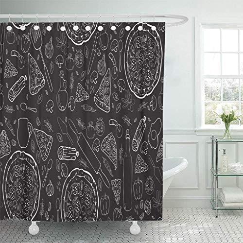 Dekorative Duschvorhang Muster Pizza Food Italienische Schwarze Zutaten Restaurant Kochskizze Wasserdicht Badezimmer Vorhang Set mit Haken