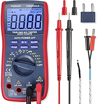 AstroAI Digital Multimeter TRMS 6000 Counts Volt Meter Auto-Ranging Tester  Fast Accurately Measures Voltage Current Resistance Diodes Continuity Duty-Cycle Capacitance Temperature for Automotive