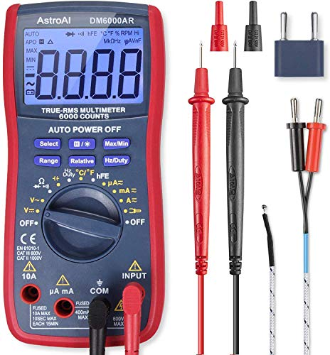 heavy duty Manual and automatic selection of measurement range for AstroAI Digital Multimeter, TRMS6000 Voltmeter. Testers measure voltage, current, resistance, continuity, and frequency.Diode, transistor, temperature test