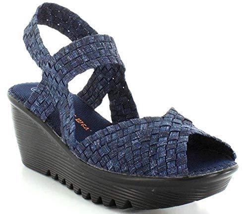 B M BERNIE MEV NEW YORK Women's Fame Wedge Sandals - Fame ist eine Keilabsatz, offen und leicht, Spaziergang im Sommer und Herbst, mehrfarbig - Jeans - Größe: 40 EU