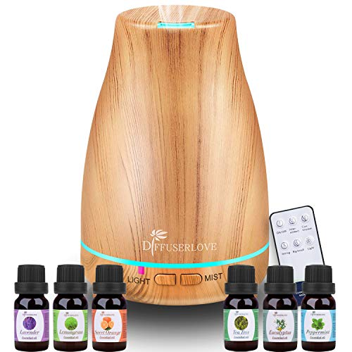 Diffuserlove Essential Oil Diffuser 200ML Ultrasonic Wood Grain Aroma Diffuser Mist Humidifiers with 7 Color LED Lights and Waterless Auto Shut-off for Bedroom Office Room House