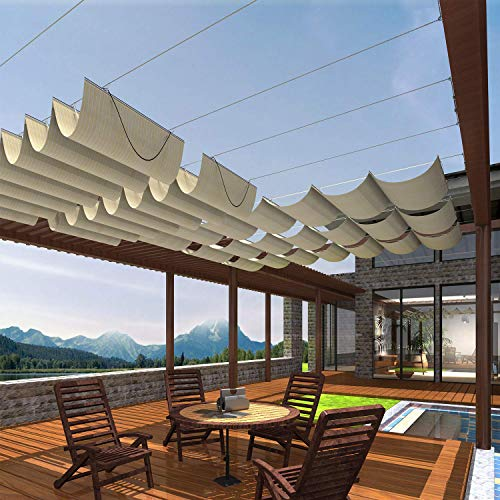 Patio 3'Wx16'L Beige Upgraded Retractable Pergola Canopy Replacement Shade Cover Slide on Wire Canopy Pergola Shade Cloth Awning Roof Wave Shade Deck Trellis Porch