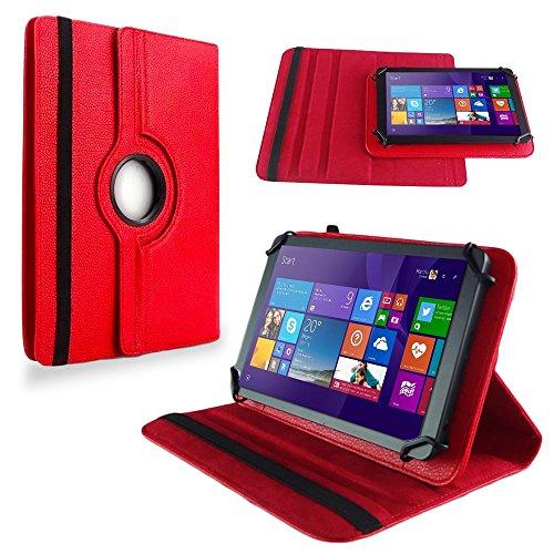 NAUC Tasche Hülle f TrekStor SurfTab Twin 10.1 Tablet Schutzhülle Hülle Schutz Cover, Farben:Rot