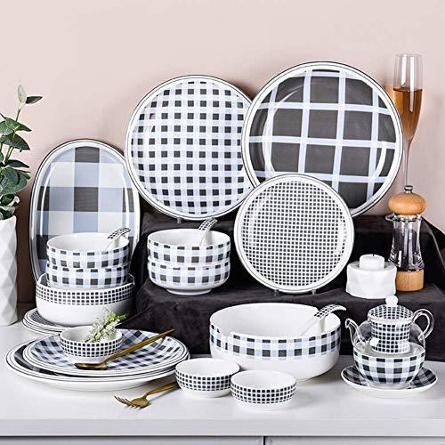 ZJZ Juegos completos de vajilla de Porcelana Estilo nórdico con Cuenco, Platos, Cuencos para Pasta, para la Cocina y el Comedor del hogar, 10 Piezas