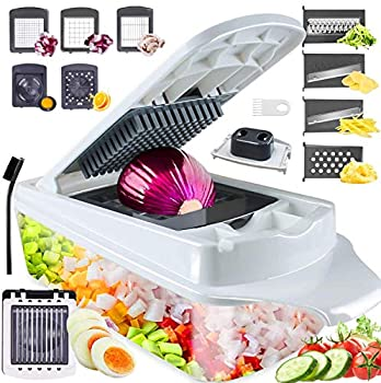Vegetable Chopper Slicer RUK 12-in-1 Veggie Salad Chopper Food Cutter Dicer Pro Onion Chopper with Container for Potato Salad Fruit Apple Carrot Zoodle Maker Lemon Squeezer