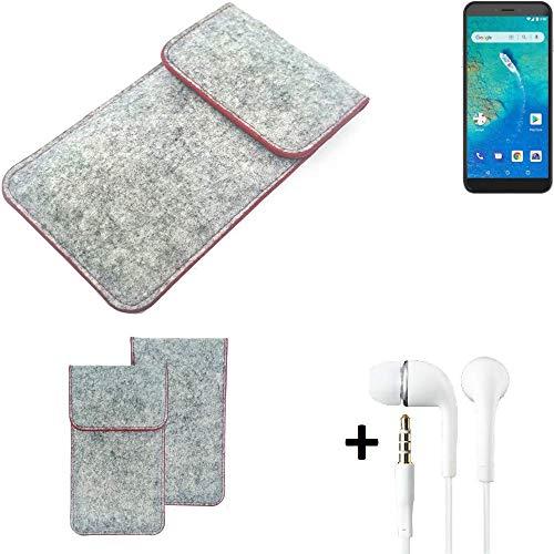 K-S-Trade® Handy Schutz Hülle Für General Mobile GM 8 Go Schutzhülle Handyhülle Filztasche Pouch Tasche Hülle Sleeve Filzhülle Hellgrau Roter Rand + Kopfhörer