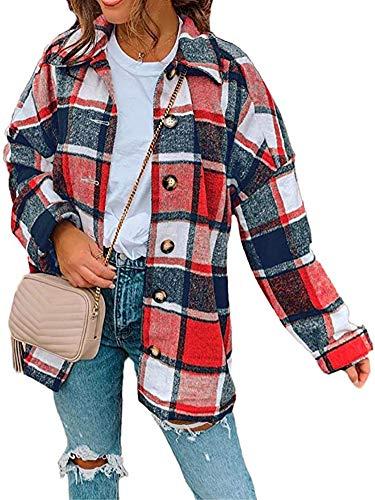 Camicia da donna a maniche lunghe in flanella a quadri retrò casual con bottoni a bottone, giacca cardigan misto scozzese bavero pulsante cappotto corto con tasca 01 L