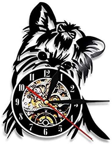 Reloj de Pared de Vinilo Terrier Perro Raza Disco de Vinilo Reloj de Pared Silueta de Cachorro Tema Animal Decoración del hogar Regalo Hecho a Mano para Amantes de los Perros