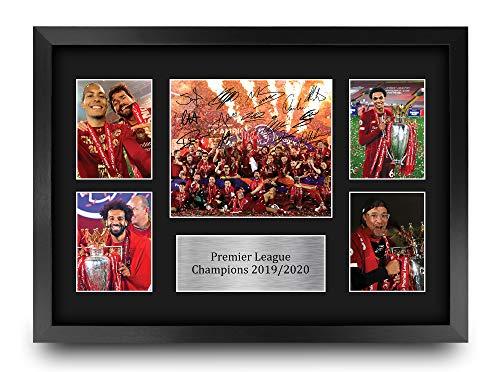 HWC Trading A3 FR Liverpool Premier League Champions 2019/2020 Display signiertes Geschenk gerahmt A3 gedrucktes Autogramm Fußball Geschenke Druck Foto Bild Display