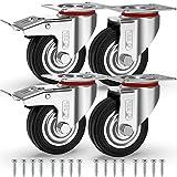 ★ FLESSIBILITA' E SICUREZZA - Rotelle per carrello offrono l'elasticità delle ruote in gomma unita alla resistenza e alla durata delle ruote in metallo. Sicuro per tutti i tipi di pavimento - Le ruote mobili per Lavori Pesanti hanno una Capacità di Carico di 200 kg - (50 kg per ruota)