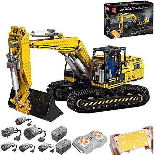 BSPAS Technik Linkbelt Bagger, 1830 Teile Technik Motorisierter Raupenbagger Technic Ferngesteuert Bagger mit 6 Motor und Fernbedienung Bauset Kompatibel mit Lego Technik