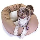 52 inch Khaki & Sherpa Bagel Dog Bed By Majestic Pet Products