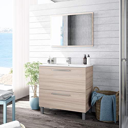 ARTIKMOBEL 305412W - Mueble de baño Urban, módulo de Lavabo con Espejo Color Nature, Medidas: 80 x 80 x 45 cm de Fondo