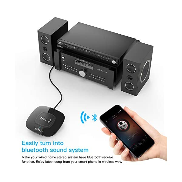 Bluetooth Receiver Wireless, NFC-Enabled Audio Adapter 4.0 for HD Home Stereo Music Streaming Sound System for 3.5mm (AUX and RCA) 4