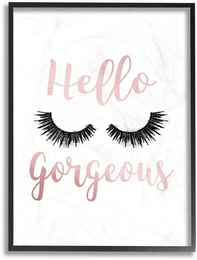 Stupell Industries 2021 spring and summer new Hello Gorgeous Black Cash special price Eyelashes Typography Fra