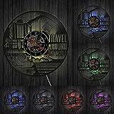 KDBWYC Reloj de Pared con Disco de Vinilo de inspiración en Todo el Mundo, decoración de habitación de Oficina, artesanía de Viaje Global, Reloj artístico, Regalo de Viajero con Led