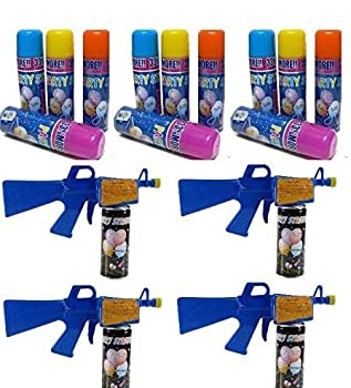 Los Angeles Superstore 12 Party String Cans and 4 Gun Blasters Party Pack - Fun Silly Party Streamer String
