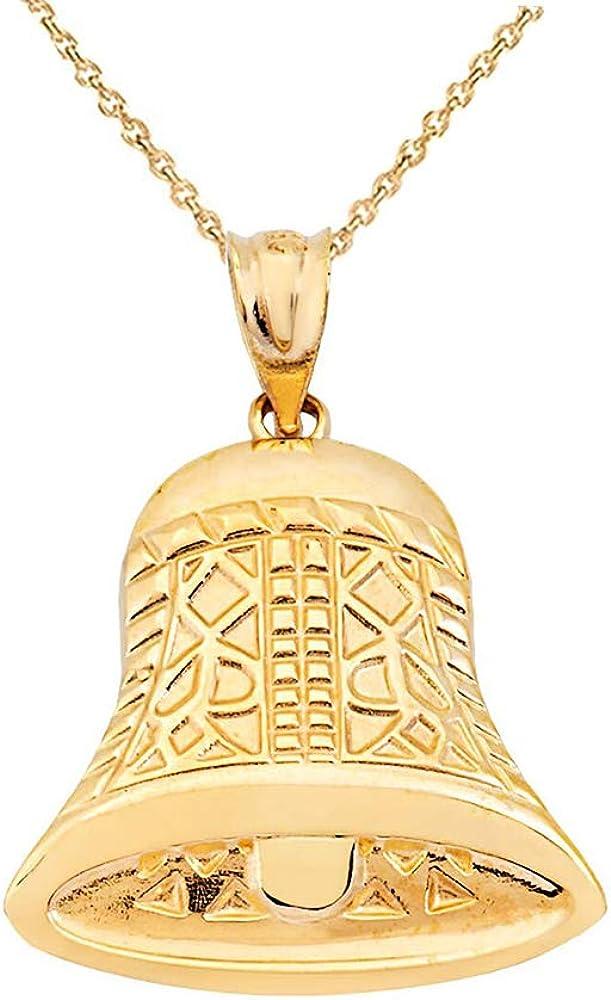 Vintage 14k Gold Movable Bell Charm Pendant Necklace