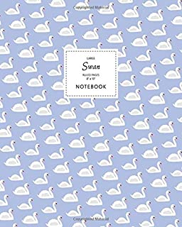 Swan Notebook - Ruled Pages - 8x10 - Large: (Lavender Edition) Fun bird notebook 192 ruled/lined pages (8x10 inches / 20.3...