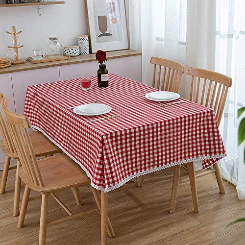 XQSSB Manteles Mesa Rectangular Geométrico Sabana de Algodon Decoración de Mesa para Cocina y Comedor Rojo a 90 × 150cm