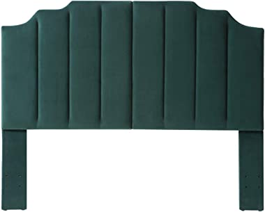 24KF Velvet Upholstered Tufted Queen Headboard Full Headboard with Vertical Channel Design Queen/Full -Jade Green
