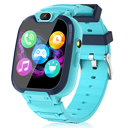 Kids Smart Watch for Boys Girls – Kids Smartwatch with Call SOS 14 Games Camera Video Player Music Player Torch Light Calculator 12/24 hr Touch Screen Children Smart Watch for Kids Age 4-12 (Blue)