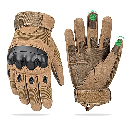 Fuyuanda Full Finger Outdoor Glove Touch Screen Men`s Tactical Cycling Hunting Climbing Sports Glove for Military Airsoft Paintball Pistol Riding Motorcycle Smart Phone Coyote X-Large