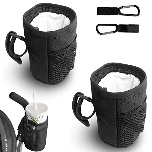 PUDSIRN 2 bolsas para botella de agua para bicicleta con 2 ganchos multifuncionales, soporte para vasos de bicicleta, sin tornillos, para manillar, crucero, bicicleta de montaña