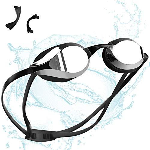 ZetHot Occhialini da Nuoto, Nessuna Perdita, Protezione Anti-Appannamento con Protezione UV Triathlon per Adulti Uomini Donne Giovani Ragazzi Bambini. (Nero)