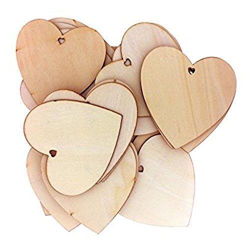 knowing Blank Herz Holz Scheiben,Blank Holz Herz Schmuck, Naturholzscheiben Handwerk Verzierungen für Hochzeit, DIY, Kunst, Handwerk, Karten Herstellung (25MM/100pcs)