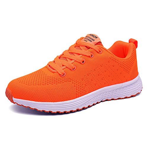 PAMRAY Damen Fitness Laufschuhe Sportschuhe Schnuren Running Sneaker Netz Gym Schuhe Hell Orange 40