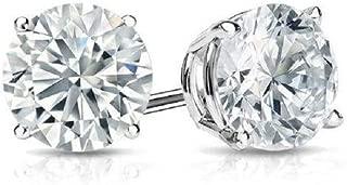 0.20ctw Round Cut D/VVS1 Diamond Fancy Solitaire 3mm Stud Earrings For Men,Women,Boys & Girls 925 Sterling Silver 18K White Gold Plated