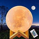 JORLAI Lámpara de Luna de Impresión 3D 16 Colores 5.9 pulgadas Toque de Mano y Control Remoto Carga USB Luz de Noche LED para Decoración de Fiesta y Sala de Estar Regalo de Bebé φ15cm