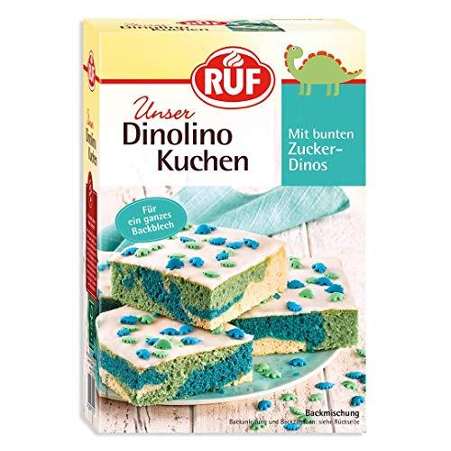 RUF Dinolino Kuchen dreifarbig mit Glasur und bunten Dinostreuseln, 2er Pack (2 x 850 g)