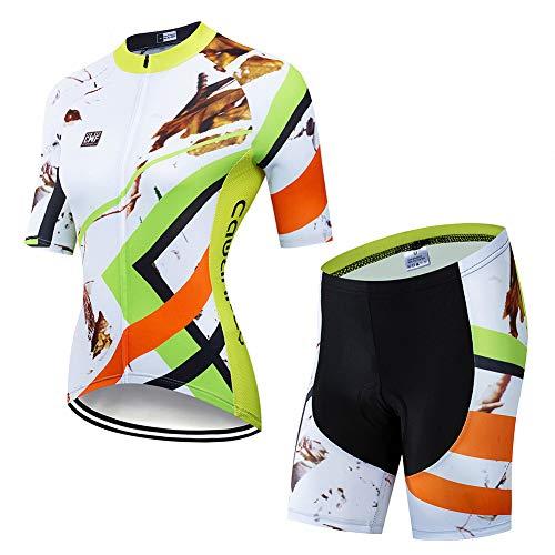 FJLR Verano Mujeres Ciclismo Ropa para Deportes Al Aire Libre Costume Bicicleta Jersey De Manga Corta + 9D Gel Pantalones Cortos Transpirables De Secado Rápido,C,M