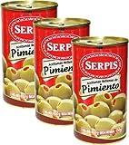 Serpis - Aceitunas verdes rellenas con pimentos rojos 12 onzas Paquete de 3