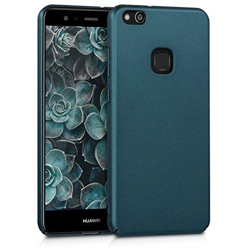 kwmobile Hülle kompatibel mit Huawei P10 Lite - Handy Hülle Handyhülle - Anti-Rutsch Backcover Hardcover Cover Schutzhülle Metallic Petrol