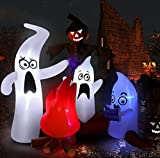 West Bay Halloween Inflatable Decorations,6.6Ft (Length) x6Ft (Height) Ghosts Family Telling Scary Stories with Led for Home Yard Garden Indoor and Outdoor Decor