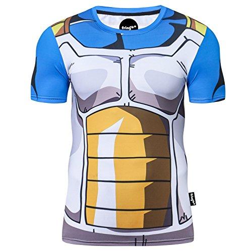 Fringoo maglietta da uomo, a compressione, ideale come maglia intima o come maglietta per allenamento e corsa, a maniche corte, termica, motivo supereroe Vegeta - T-shirt M
