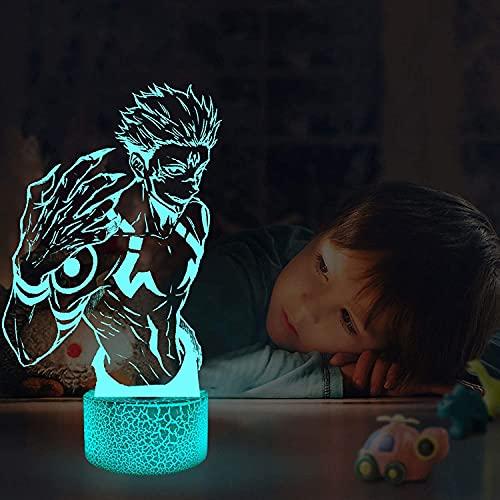 Lámpara de anime 3D Ilusión Lámpara de anime Kento Nanami Light Jujutsu Kaisen Luz de noche LED para regalo de cumpleaños Jujutsu Kaisen Luz de noche 16 colores