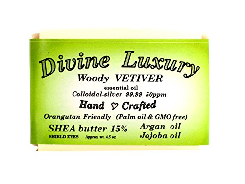 Colloidal Silver Soap Bar VETIVER (Essential Oil) DivineLuxurySoap - All Natural, No Palm Oil, Feel Clean, Safe, Bubbly
