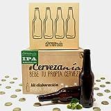 Pack completo para hacer cerveza en casa | Kit IPA y 16 Botellines con 100 chapas | Kit todo grano | Lúpulo fresco