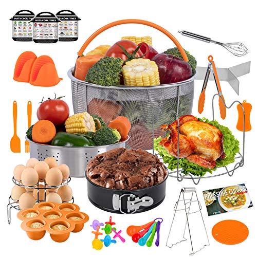 PentaQ Insta Pot Accessories Compatible with 6 Quart, 24 Pieces Pressure Cooker Accessory Set Orange 8 Quart, 2 Steamer Basket, Springform Pan, Egg Bites Mold