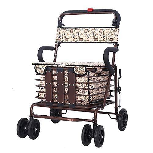 Shopping Trolleys Einkaufstasche/Roller, zusammenklappbar, mit 4 Runden, für kleine Gemüse, bequemer Einkaufswagen, Aluminiumlegierung, braun, 47 * 66 * 96cm