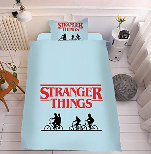 XQshop STRANGER THINGS Bedding Set Single Bedding Set Includes 1 Duvet Cover + 1 Sheet + 1 Pillowcase 59 inches*79 inches