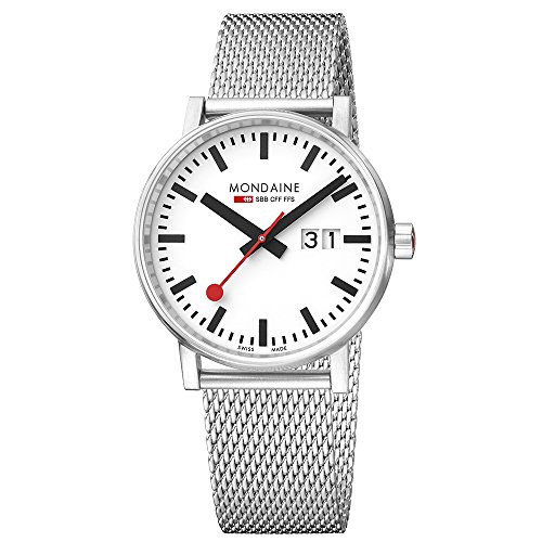 Mondaine Unisex Datum klassisch Quarz Uhr mit Edelstahl Armband MSE.40210.SM