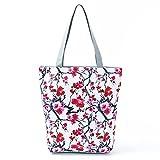 Bolso floral de las señoras bolso de hombro lona verano playa bolsa diaria chica (27)